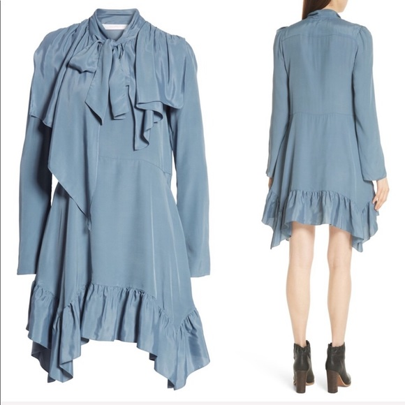 8bc050f038 NEW • See By Chloé• Tie Neck Ruffle Hem Dress Blue NWT